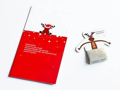 Weihnachtskarte mit Teebeutel